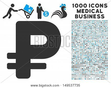 Rouble icon with 1000 medical business gray and blue glyph design elements. Clipart style is flat bicolor symbols, white background.