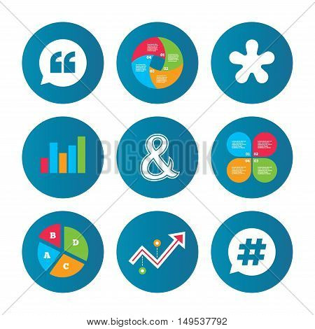 Business pie chart. Growth curve. Presentation buttons. Quote, asterisk footnote icons. Hashtag social media and ampersand symbols. Programming logical operator AND sign. Speech bubble. Data analysis