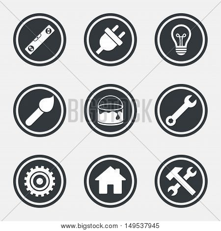 Repair, construction icons. Hammer, wrench tool and cogwheel signs. Electric plug, lamp and house symbols. Circle flat buttons with icons and border. Vector