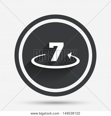 Return of goods within 7 days sign icon. Warranty exchange symbol. Circle flat button with shadow and border. Vector