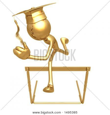 Golden Grad Jumping Hurdles Graduation Concept