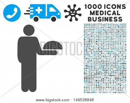 Standing Waiter icon with 1000 medical commercial gray and blue glyph pictographs. Set style is flat bicolor symbols, white background.