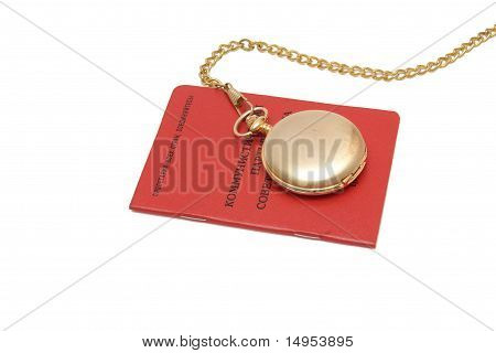 Soviet communist party membership card with pocket watch on chain