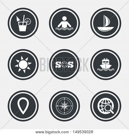 Cruise trip, ship and yacht icons. Travel, cocktail and sun signs. Sos, windrose compass and swimming symbols. Circle flat buttons with icons and border. Vector