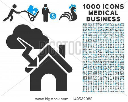 Storm Building icon with 1000 medical business gray and blue glyph design elements. Set style is flat bicolor symbols, white background.