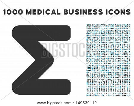 Sum icon with 1000 medical commerce gray and blue glyph pictographs. Design style is flat bicolor symbols, white background.