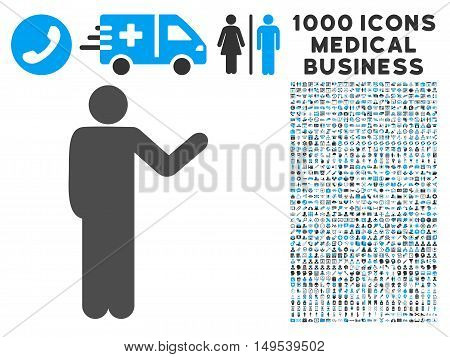 Talking Man icon with 1000 medical business gray and blue glyph pictographs. Collection style is flat bicolor symbols, white background.