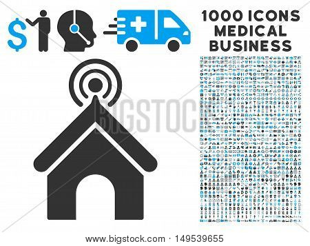 Telecom Office icon with 1000 medical business gray and blue glyph pictographs. Collection style is flat bicolor symbols, white background.