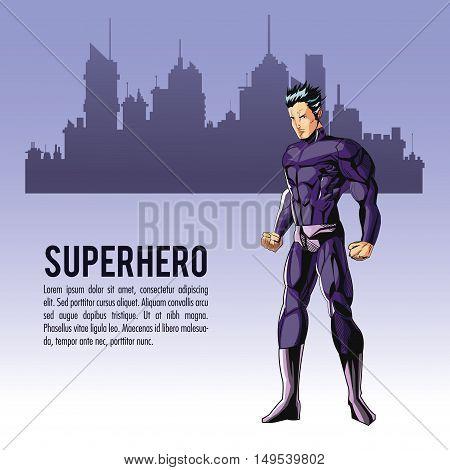 Superhero man cartoon with uniform icon. Comic power costume and hero theme. Colorful design. City silhouette background. Vector illustration