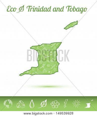Trinidad And Tobago Eco Map Filled With Green Pattern. Green Counrty Map With Ecology Concept Design