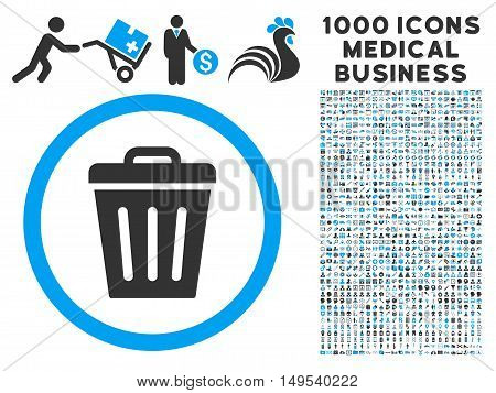 Trash Can icon with 1000 medical commerce gray and blue glyph pictograms. Set style is flat bicolor symbols, white background.