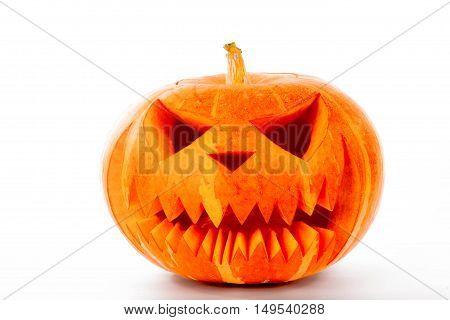 Spooky halloween big orange pumpkin on white background