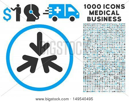 Triple Collide Arrows icon with 1000 medical commercial gray and blue glyph design elements. Clipart style is flat bicolor symbols, white background.
