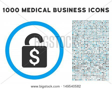 Unlock Banking Lock icon with 1000 medical business gray and blue glyph pictograms. Clipart style is flat bicolor symbols, white background.
