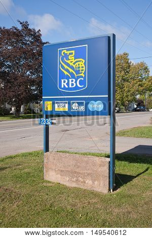 Musquodoboit Canada - September 25 2016: RBC sign. The Royal Bank of Canada or RBC is Canada's largest bank. RBC is headquartered in Toronto ON.