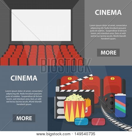 Vector flat horizontal banners of cinema for website and apps. Business concept posters of movie theme.
