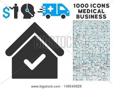 Valid House icon with 1000 medical business gray and blue glyph pictographs. Clipart style is flat bicolor symbols, white background.
