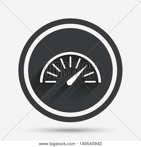 Tachometer sign icon. Revolution-counter symbol. Car speedometer performance. Circle flat button with shadow and border. Vector
