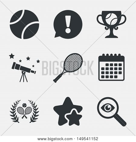 Tennis ball and rackets icons. Winner cup sign. Sport laurel wreath winner award symbol. Attention, investigate and stars icons. Telescope and calendar signs. Vector