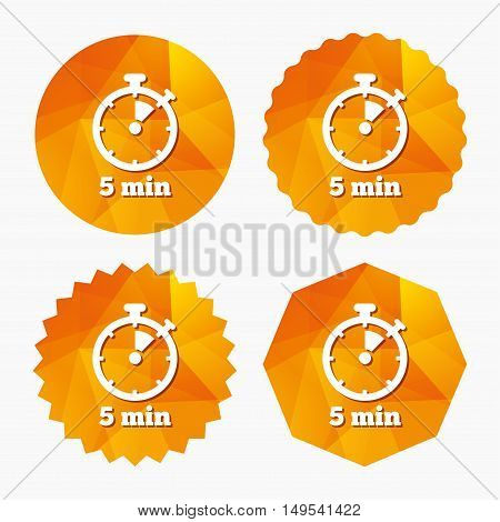 Timer sign icon. 5 minutes stopwatch symbol. Triangular low poly buttons with flat icon. Vector