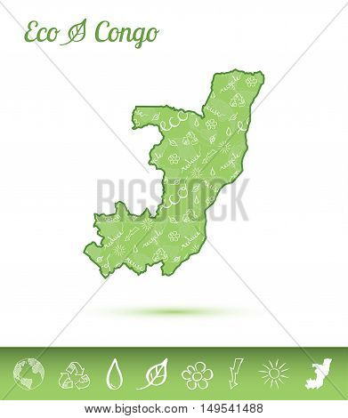 Congo Eco Map Filled With Green Pattern. Green Counrty Map With Ecology Concept Design Elements. Vec