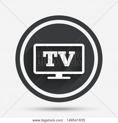 Widescreen TV sign icon. Television set symbol. Circle flat button with shadow and border. Vector