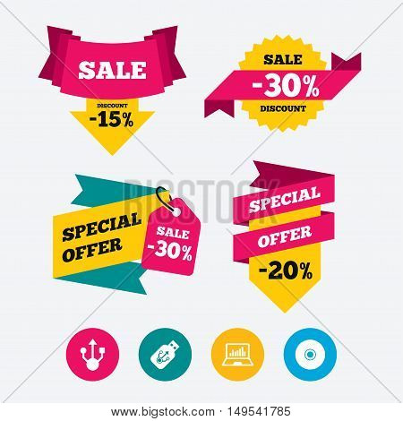 Usb flash drive icons. Notebook or Laptop pc symbols. CD or DVD sign. Compact disc. Web stickers, banners and labels. Sale discount tags. Special offer signs. Vector