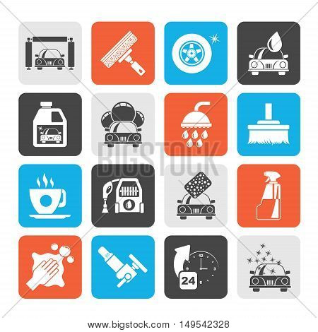 Silhouette Professional car wash objects and icons - vector icon set