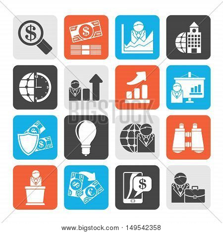 Silhouette Business and Finance Strategies  Icons  - vector icon set
