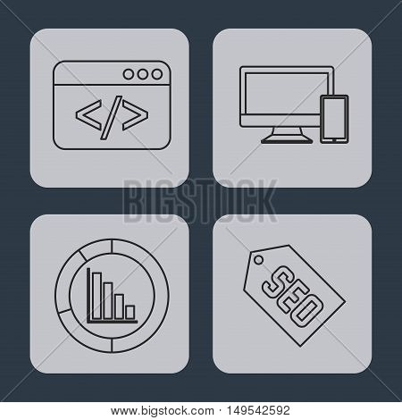 search engine optimization flat icons vector illustration design