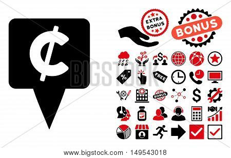 Cent Map Pointer pictograph with bonus elements. Glyph illustration style is flat iconic bicolor symbols, intensive red and black colors, white background.
