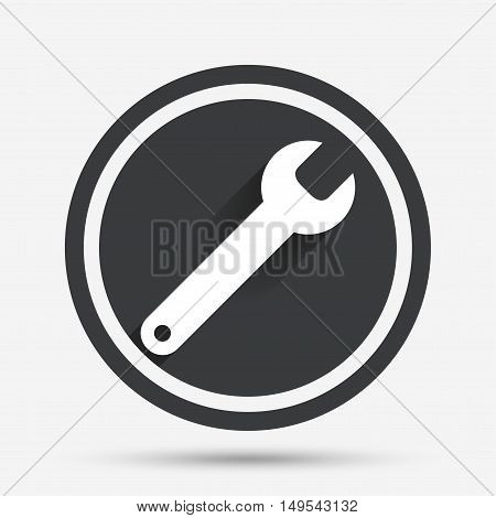 Wrench key sign icon. Service tool symbol. Circle flat button with shadow and border. Vector