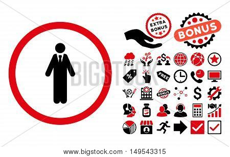 Clerk pictograph with bonus design elements. Glyph illustration style is flat iconic bicolor symbols, intensive red and black colors, white background.
