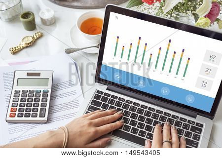 Business Chart Data Analysis Concept