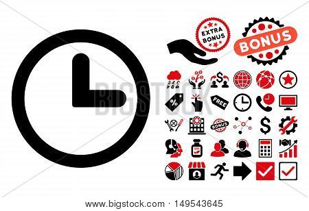 Clock pictograph with bonus icon set. Glyph illustration style is flat iconic bicolor symbols, intensive red and black colors, white background.