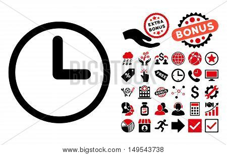 Clock icon with bonus pictograph collection. Glyph illustration style is flat iconic bicolor symbols, intensive red and black colors, white background.