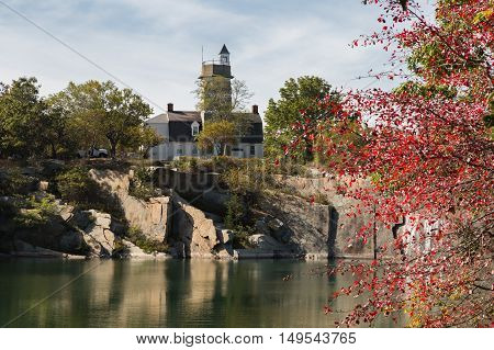 Looking across the quarry to the visitor's center at Halibut Point State Park in Rockport Massachusetts.