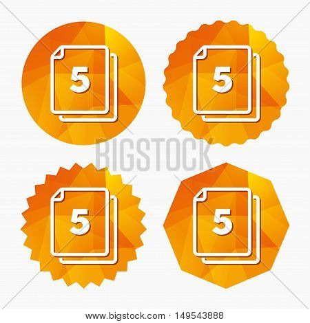 In pack 5 sheets sign icon. 5 papers symbol. Triangular low poly buttons with flat icon. Vector