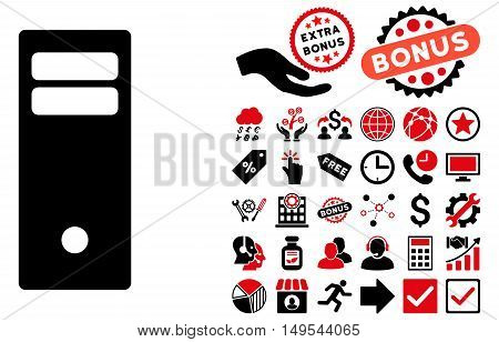 Computer Mainframe pictograph with bonus symbols. Glyph illustration style is flat iconic bicolor symbols, intensive red and black colors, white background.