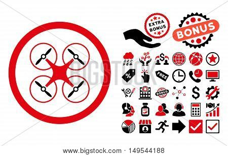 Copter pictograph with bonus elements. Glyph illustration style is flat iconic bicolor symbols, intensive red and black colors, white background.