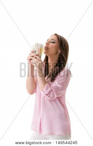Financial well-being concept. Woman posing with money