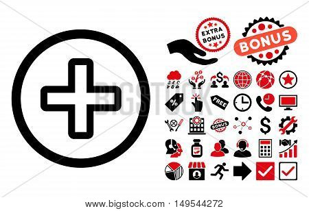 Create pictograph with bonus elements. Glyph illustration style is flat iconic bicolor symbols, intensive red and black colors, white background.