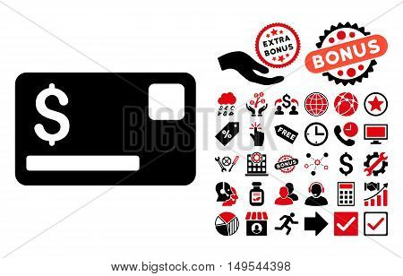 Credit Card icon with bonus clip art. Glyph illustration style is flat iconic bicolor symbols, intensive red and black colors, white background.