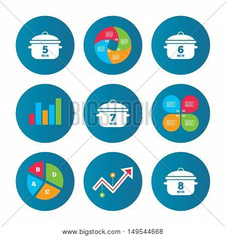 Business pie chart. Growth curve. Presentation buttons. Cooking pan icons. Boil 5, 6, 7 and 8 minutes signs. Stew food symbol. Data analysis. Vector