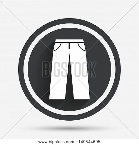 Men's jeans or pants sign icon. Casual clothing symbol. Circle flat button with shadow and border. Vector