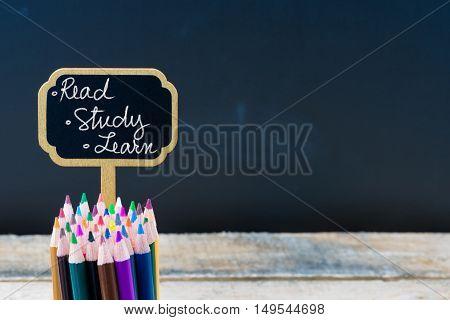 Wooden Mini Blackboard Label With Message Read, Study, Learn