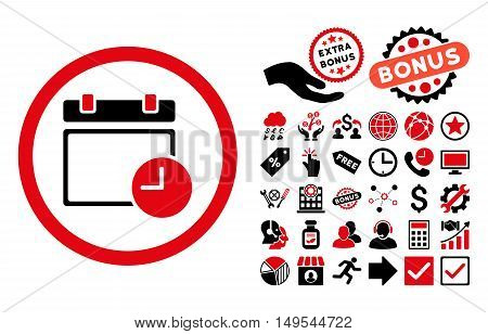 Date and Time icon with bonus pictograph collection. Glyph illustration style is flat iconic bicolor symbols, intensive red and black colors, white background.