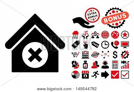 Delete Building icon with bonus pictures. Glyph illustration style is flat iconic bicolor symbols, intensive red and black colors, white background.