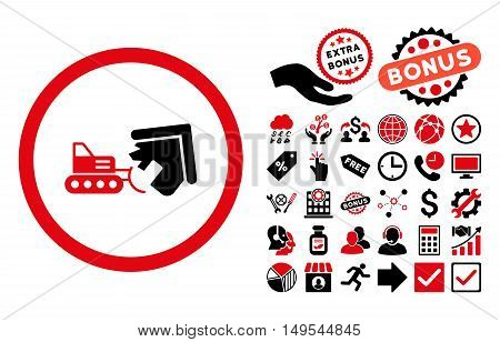 Demolition pictograph with bonus design elements. Glyph illustration style is flat iconic bicolor symbols, intensive red and black colors, white background.