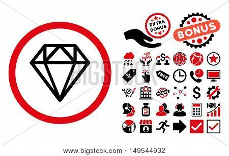 Diamond icon with bonus symbols. Glyph illustration style is flat iconic bicolor symbols, intensive red and black colors, white background.